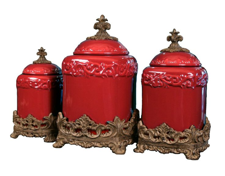 Beautiful Selection Of Red Canister Sets For Kitchens