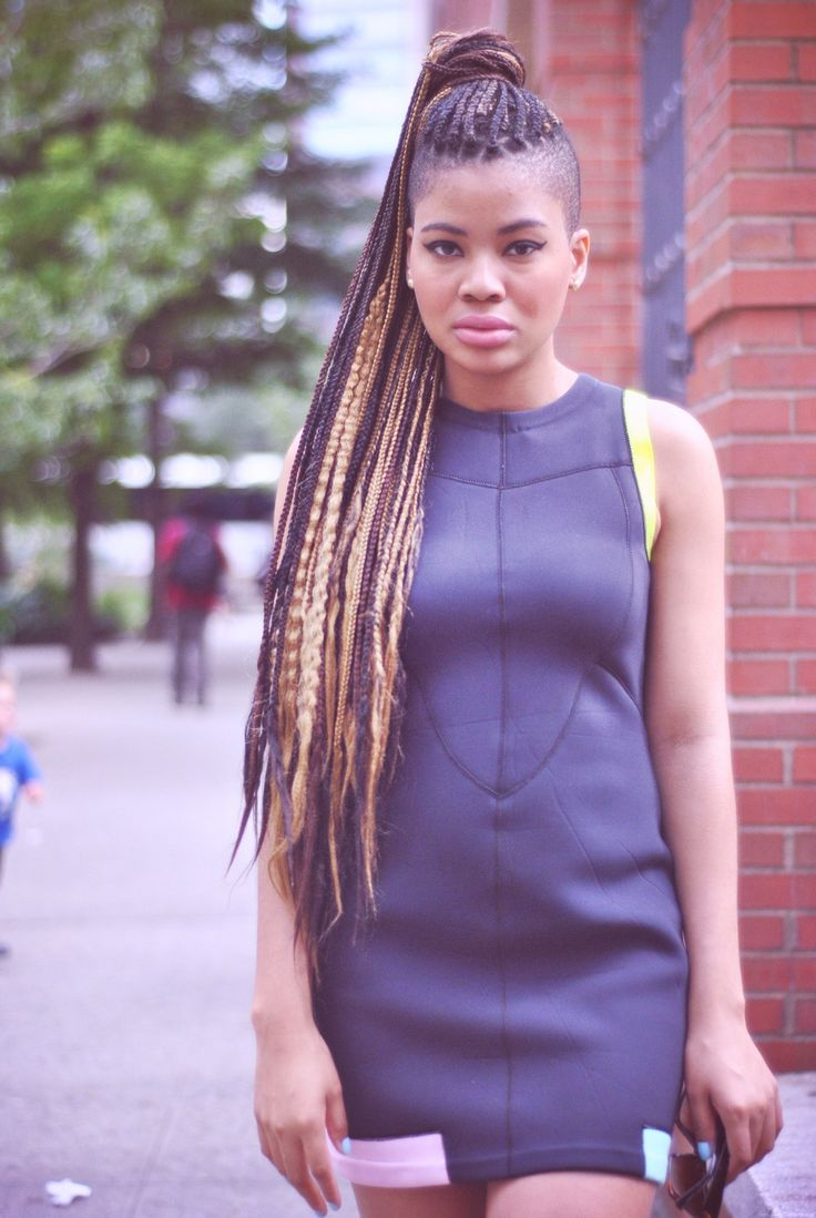 Box Braids with Shaved Sides Hairstyles