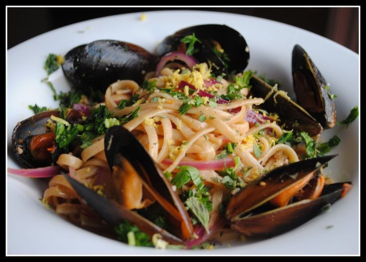 Linguine with Mussels and Fresh Herbs | Seafood dinner | Pinterest