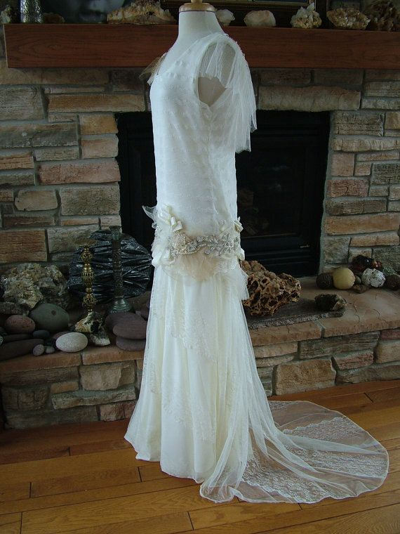 1920s inspired wedding dress flapper gown beaded antique lace dress