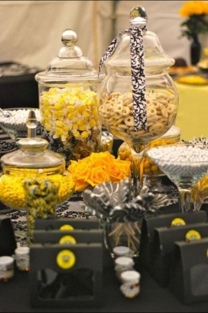 yellow treats at a bumble bee baby shower see more party ideas at