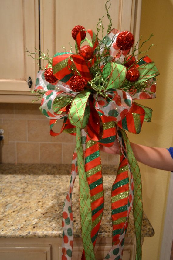 Red and green christmas tree topper by kristenscreations for Red green christmas tree