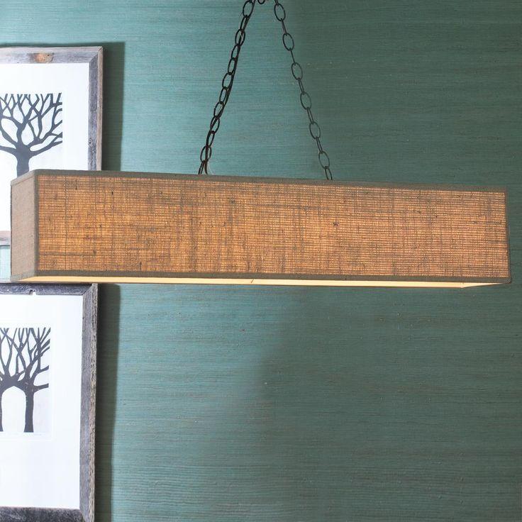 Rectangular shade island chandelier for Rectangular dining room light