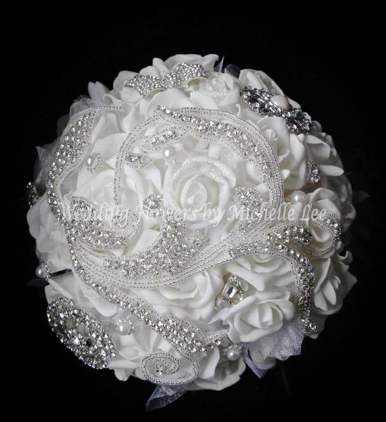 Bridal Flowers With Bling : Pin by ariel brodnax on wedding brooch bouquet ideas