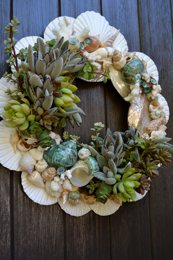Blue Laguna Shell & Succulent Wreath by GreenThumbGarage on Etsy, $135.00
