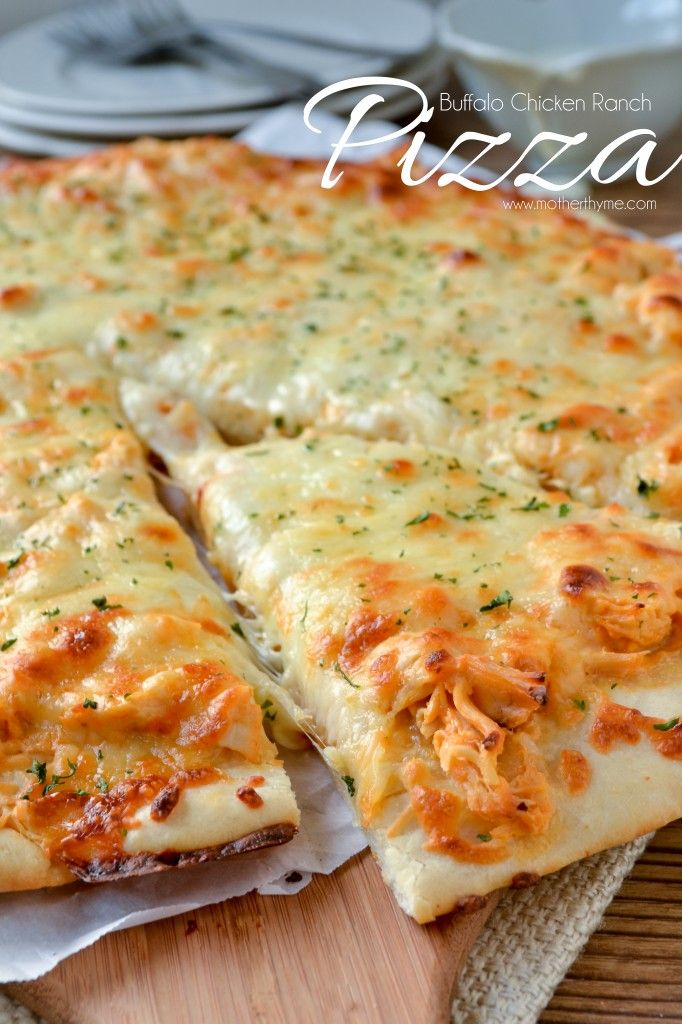 Buffalo Chicken Ranch Pizza- Added 1/2 the chicken mixture into potato ...