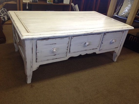 Solid Wood Coffee Table Distressed Upcycled White Chippy Basset