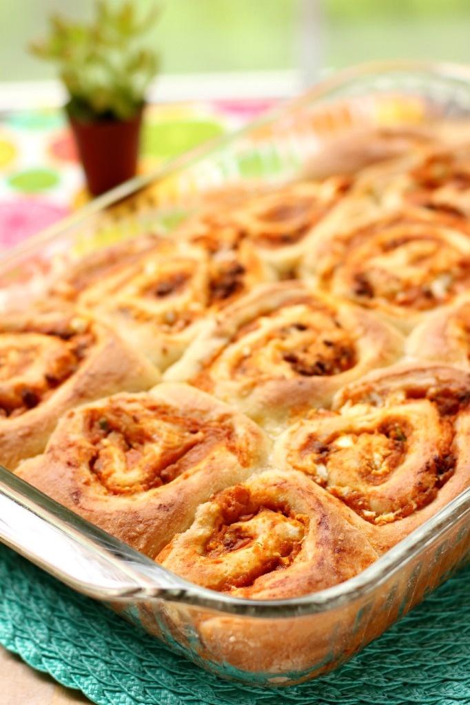"savory sweet potato & chorizo cinnamon rolls from ""willow bird bakin..."