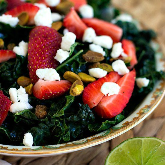 delicious salad of Tuscan kale, fresh sliced strawberries, crunchy ...