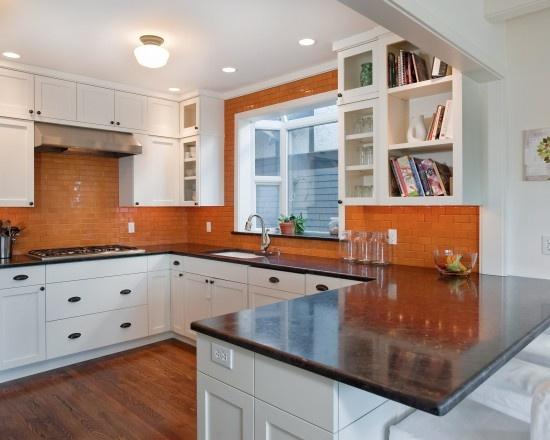 orange tile backsplash kitchen pinterest