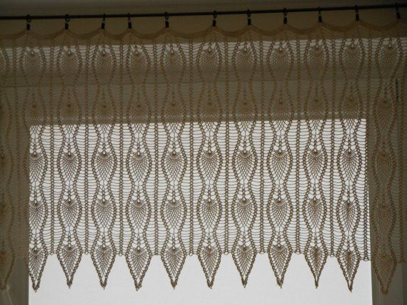 Crochet Patterns Curtains : Crochet Curtain Lace Window Valance by MyKnitCroch on Etsy, $150.00