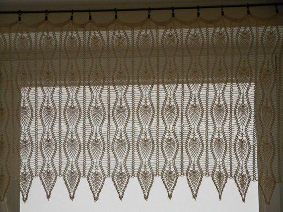 Crochet Patterns Curtains : Crochet Curtain Lace Window Valance by MyKnitCroch on Etsy, $150.00