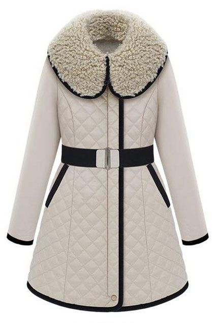 Romwe Rhombus Faux Fur Collar Cream Coat