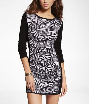 Zebra Print Sweater Dress 44