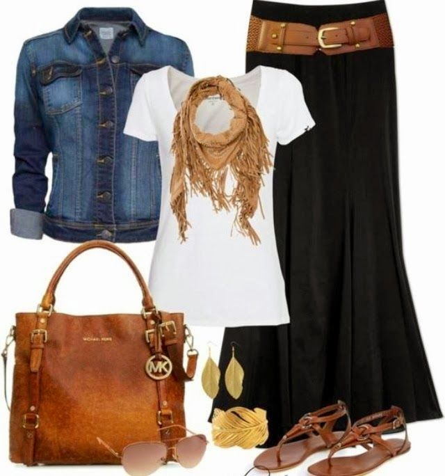 jean shirt, white blouse, black skirt and brown handbag
