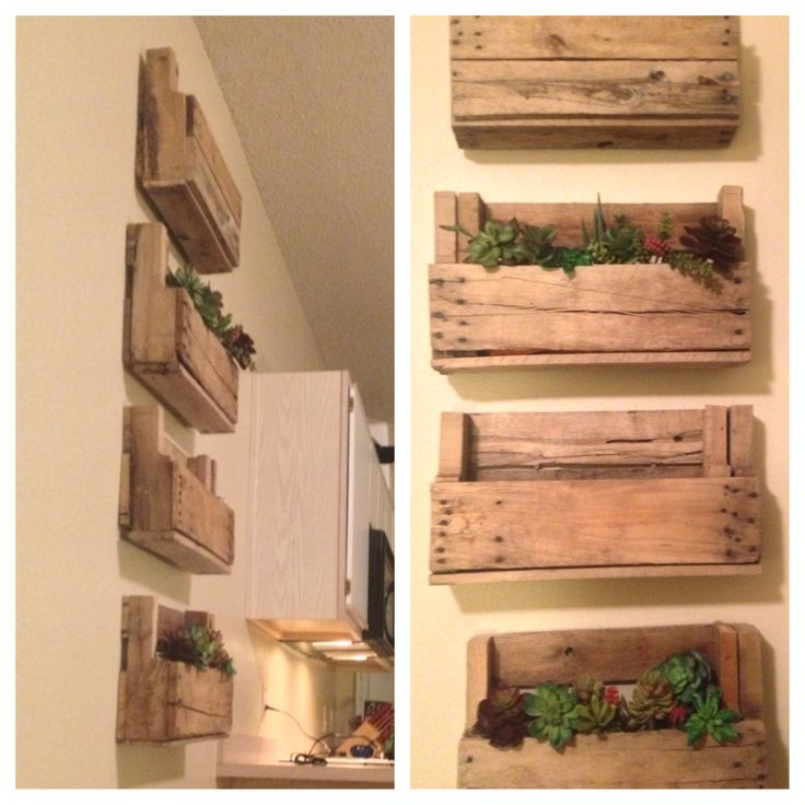 Diy pallet wall decor with succulents boho living for Pallet wall decor