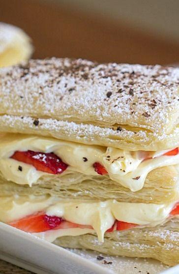 Strawberry & Chocolate Cream Cheese Napoleon Recipe — Dishmaps