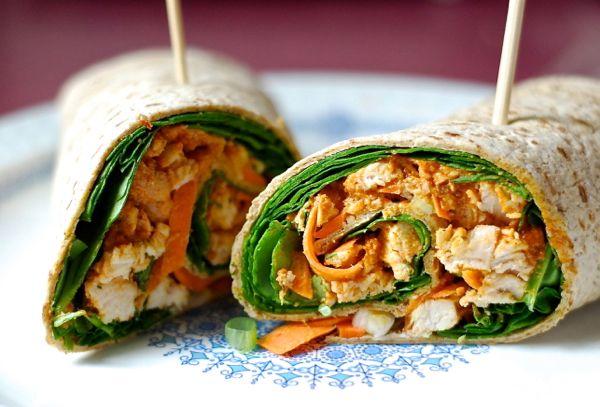 Spicy thai peanut chicken wrap | yums. | Pinterest
