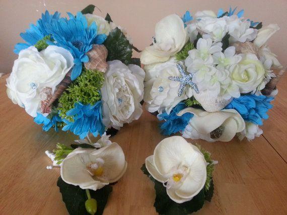 Wedding Flowers For Beach Theme : Piece wedding bouquet set beach themed silk bridal