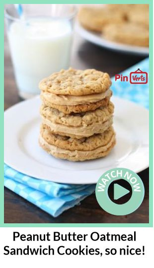 Peanut Butter Oatmeal Sandwich Cookies... Soft and chewy peanut butter ...