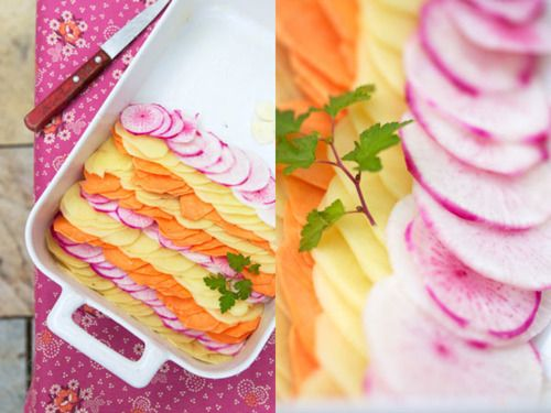 flavored gratin dauphinois with potato, sweet potato and pink turnips ...