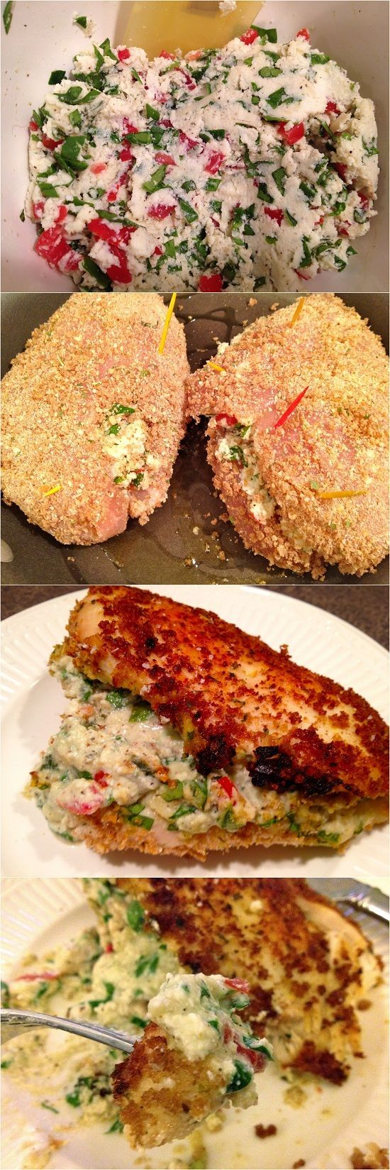 ... Crusted Chicken Stuffed with Ricotta, Spinach, Tomatoes, and Basil