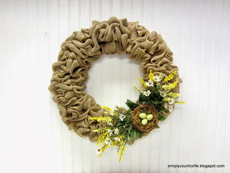 Simply Country Life: Burlap Easter Spring Wreath with Nest and Eggs