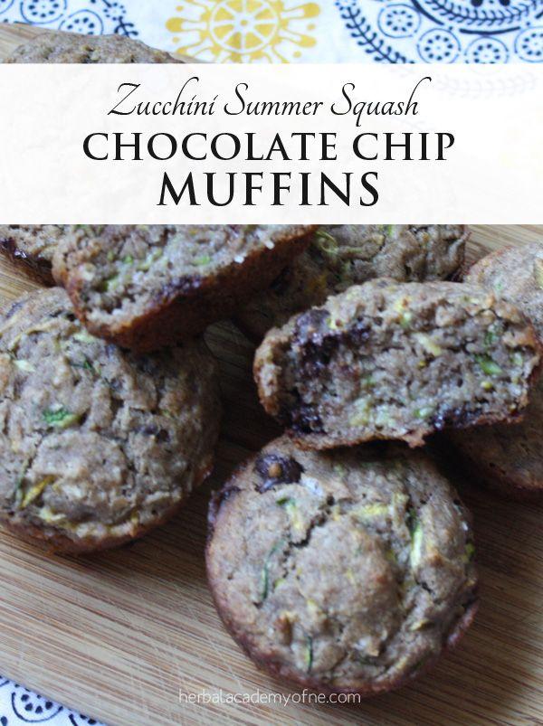 Vegan Zucchini Summer Squash Chocolate Chip Muffins - Herbal Academy ...