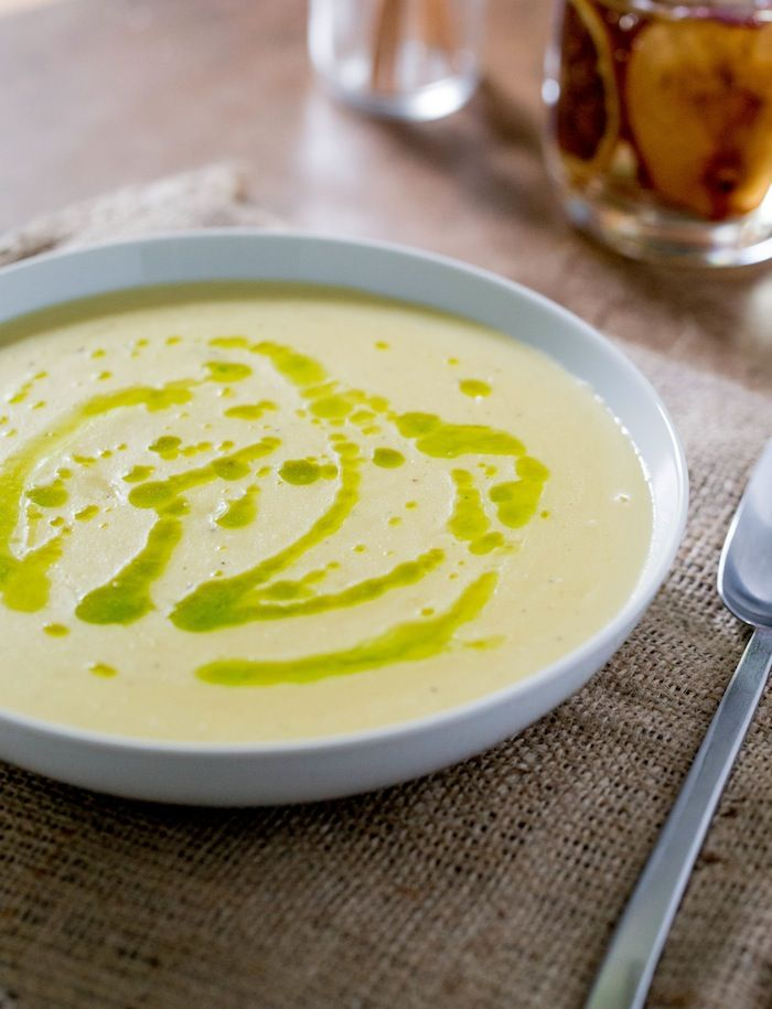 Creamy Potato Leek Soup topped with Parsley Oil. Super easy to whip ...