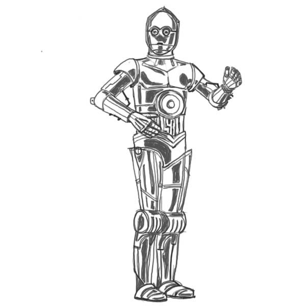 Star Wars R2d2 And C3po Drawing Www Imgkid Com The C3po Coloring Page