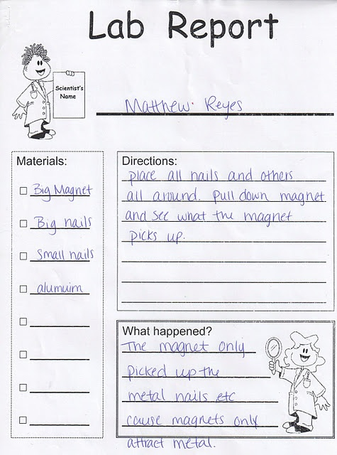 writing lab reports in second grade