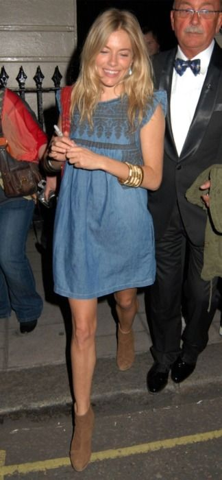sienna miller. She usually forgets to wear pants (a la Lindsey Lohan), but I like this outfit!