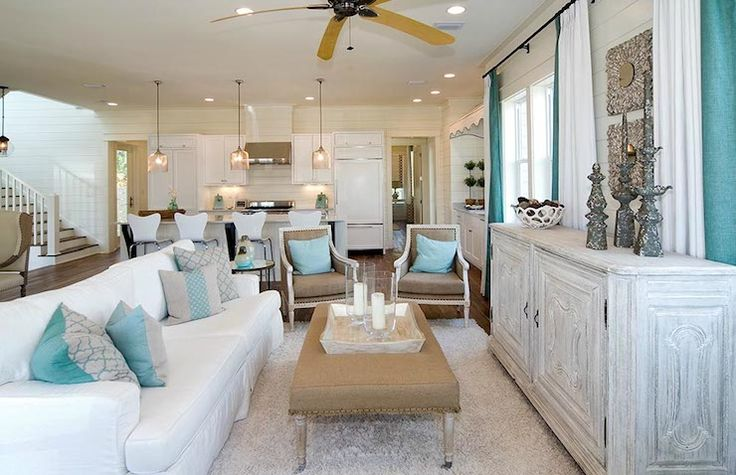 turquoise beach cottage living room | Beach Living | Pinterest