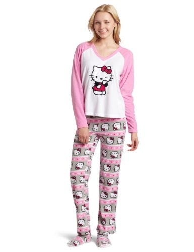 Hello Kitty Women's 3 Piece V-Neck Pajama Set with Slipper