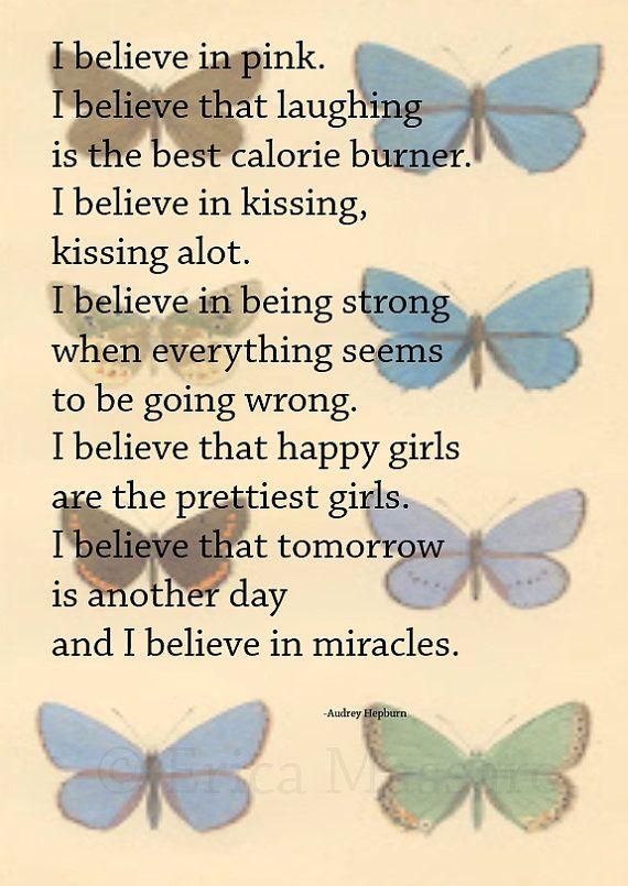 i believe audrey hepburn quote vintage butterflies