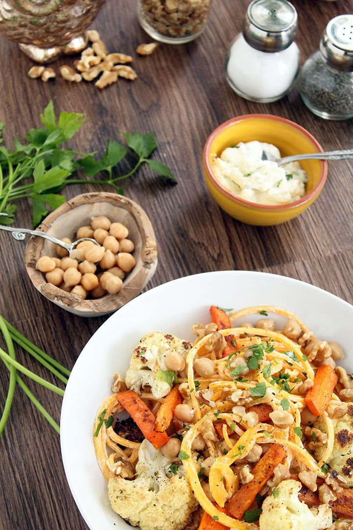 ... with Walnuts, Chickpeas and Cumin-Roasted Carrots and Cauliflower