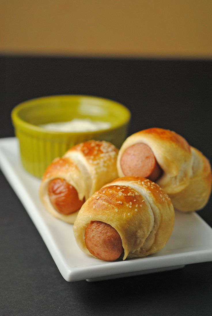 Mini Pretzel Dogs with Horseradish Dipping Sauce