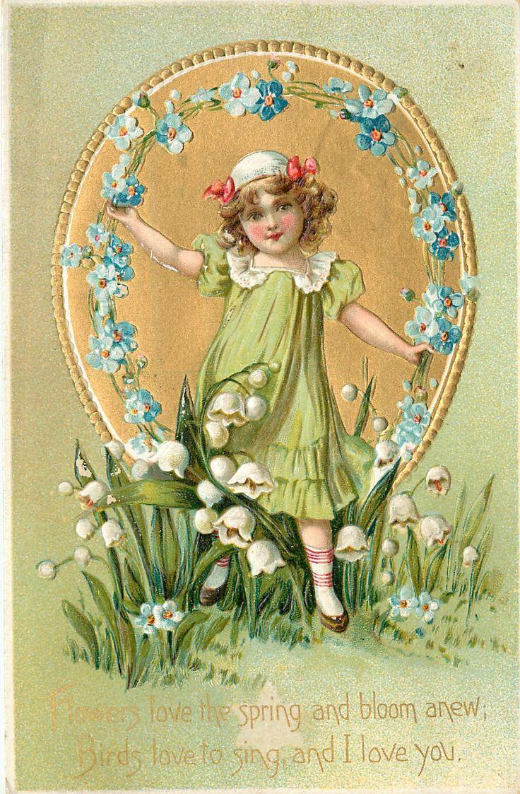 ЦВЕТЫ ЛЮБЛЮ весной и Блум заново, ПТИЦЫ люблю петь, и я люблю тебя девушку перед золоченой овала, лилии-оф-долине и незабудки не ...