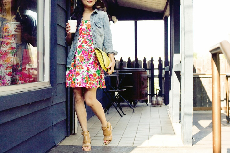 wear a chambray shirt over a printed dress