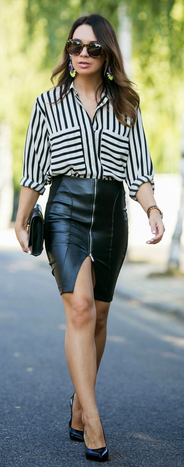 Super Sexy Leather Skirt   Striped Blouse / Best LoLus Street Fashion