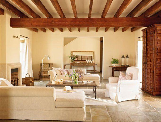 Sala y techo de madera arquitectura pinterest - Decoracion de casas de campo ...