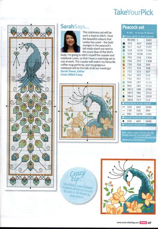Peacock stationary set cross stitch