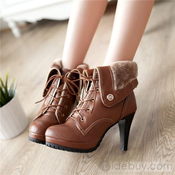 Fashion All-matched Roman Style Closed-toe Stiletto Heel Ankle Boots : Tidebuy.com