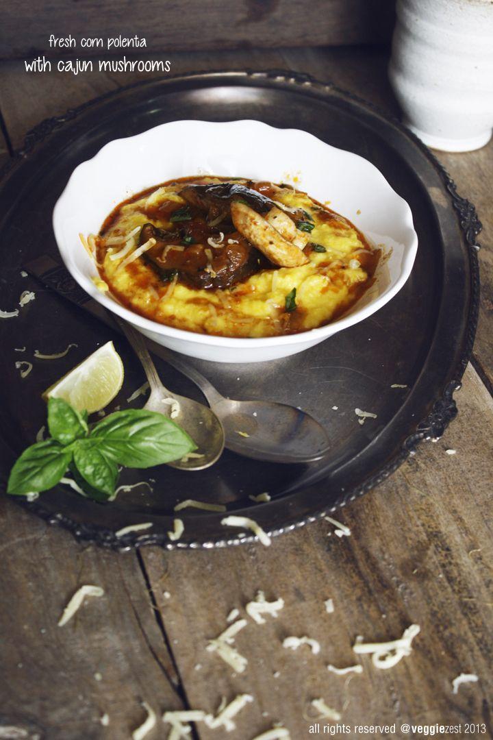 fresh corn polenta with cajun mushrooms | Veggie | Pinterest