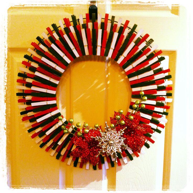 christmas clothespin wreath wreaths pinterest