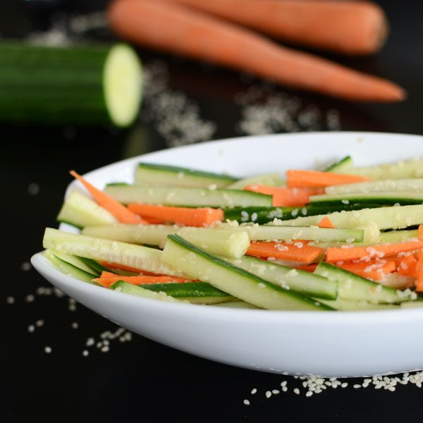 Cucumber Carrot Salad with Ginger Sesame Dressing
