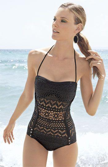 Crochet overlay one piece swimsuit. Neeeeeeeeeed