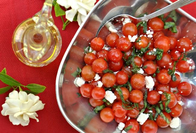 Cherry tomato salad with herbs and feta