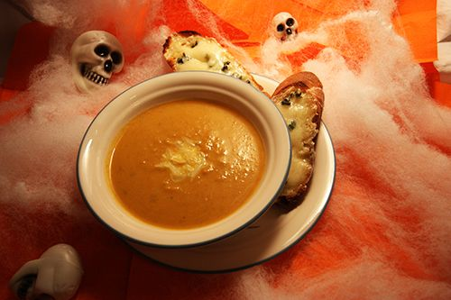 Pumpkin Soup with Gruyere Croutons Recipe