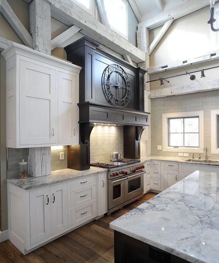 Timber frame barn kitchen barn house interiors pinterest for Barn house kitchen ideas